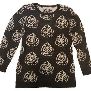 Ann Taylor LOFT Roses Sweater 3/4 sleeves